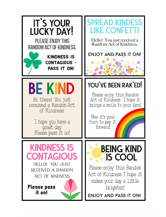 Random Acts of Kindness Tags Free Download
