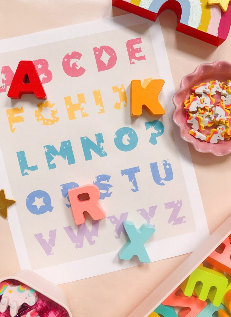FREE DOWNLOAD: Unicorn Alphabet + Number Prints